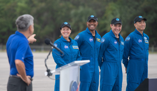 Astronauts Launching on NASA's SpaceX Crew-1 Mission Arrive at Kennedy Space Center